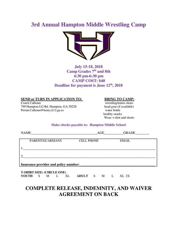 3rd Annual Wrestling Camp(click for application)